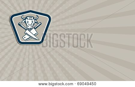 Business Card Butcher Knife Cow Head Shield