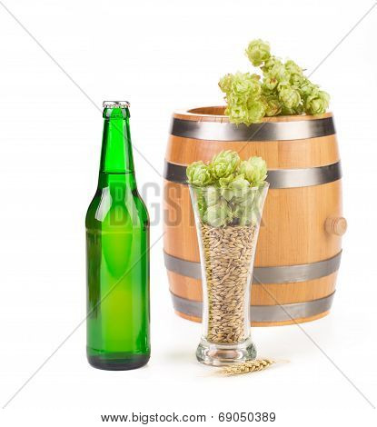 Beer with hop and barrel isolated