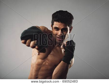 Tough Young Man Doing Some Shadow Boxing