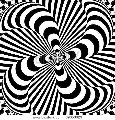Design Monochrome Whirlpool Motion Illusion Background