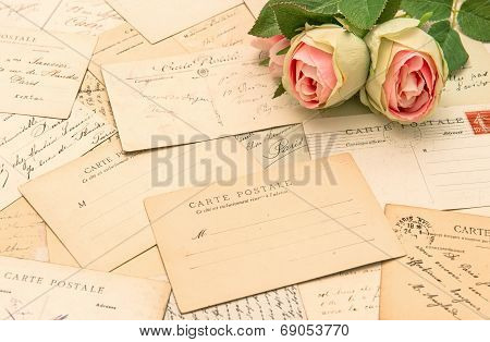 Antique French Postcards And Rose Flowers