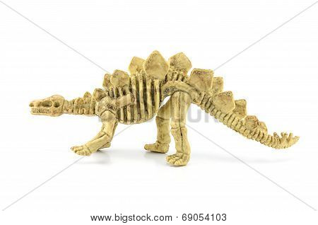 Stegosaurus Fossil Skeleton Toy Isolated On White