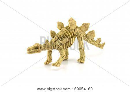 Stegosaurus Fossil Skeleton Toy Isolated On White