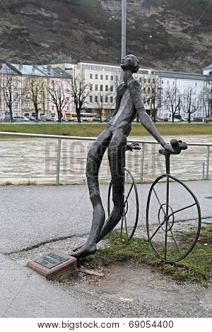 Nude Bronze Statue Of Cyclist In Salzburg, Austria