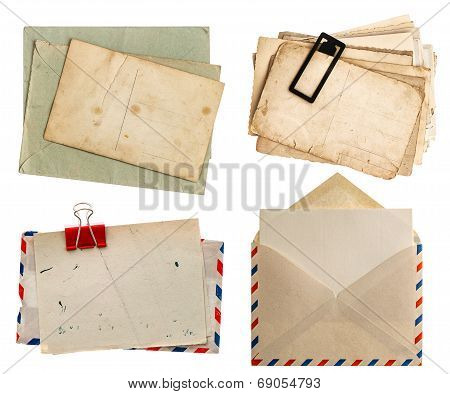 Envelope Air Mail And Postcards Isolated On White