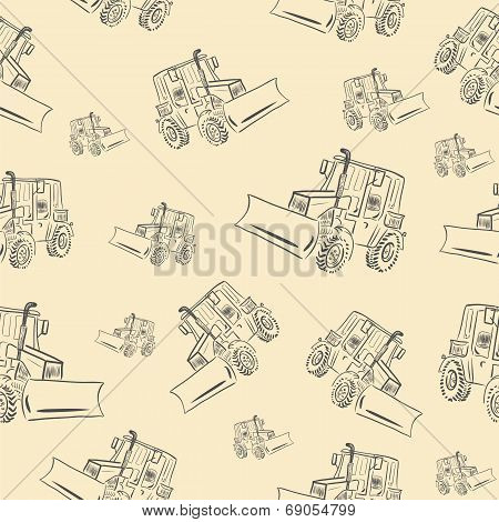 Seamless texture with a tractor 2