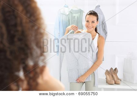 Women in clothing boutique