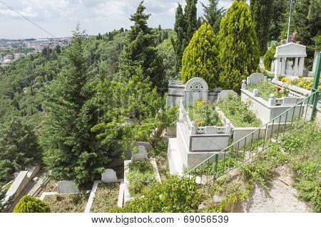 Old Graves On Hillside Cemetary