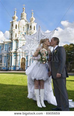 Loving newlywed about church