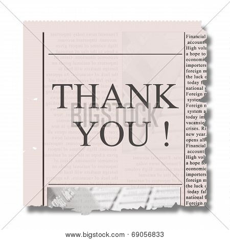 piece of newspaper with thank you
