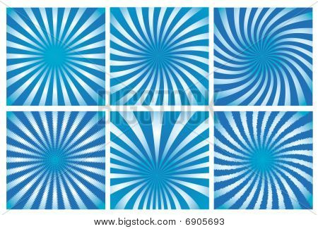 Blue sunburst background set