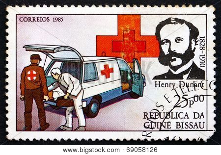 Postage Stamp Guinea-bissau 1985 Henri Dunant, Red Cross Founder
