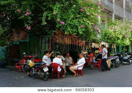 Group Of Senior Man Coffee Shop