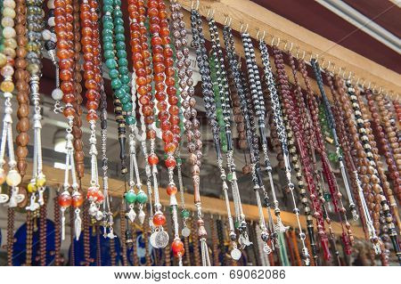 Ornate Jewelry Hanging At Market Stall