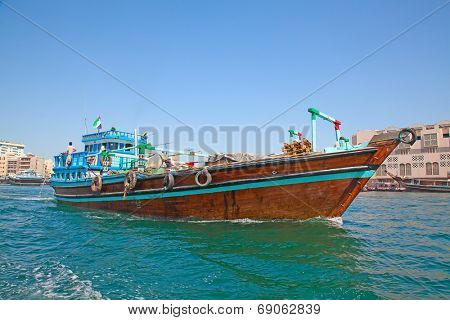 Traditional dhow ferry boats on the Dubai creek