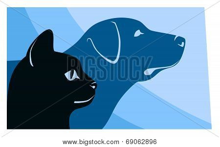 Cat And Dog Silhouettes Hotizontal