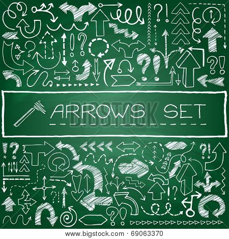 Hand drawn arrow icons set with question and exclamation marks