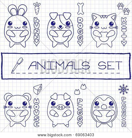 Hand drawn set of japanese style baby animals