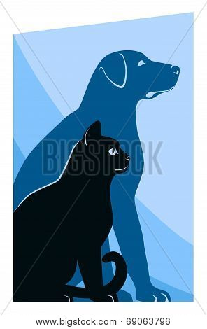 Cat And Dog Silhouettes