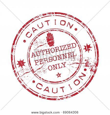 Caution grunge rubber stamp