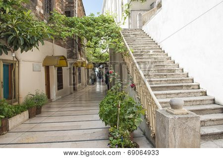 Old Passageway In City With Steps