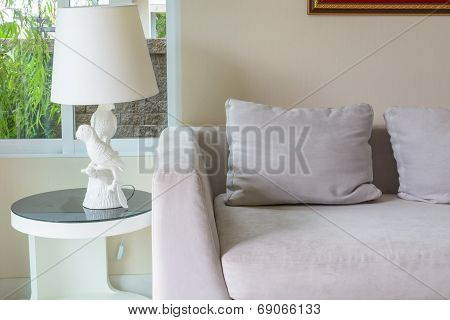 Interior Design With Sofa And Lamp On End Table