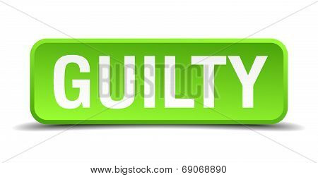 Guilty Green 3D Realistic Square Isolated Button
