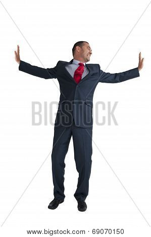 Businessman Pushing Outwards Isolated White Background
