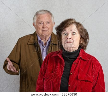 Startled Woman Near Man