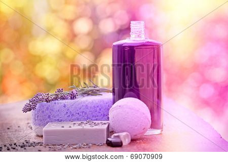 Spa concept - lavender soap and oil