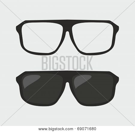 Black vector hipster sunglasses and nerd glasses on grey background