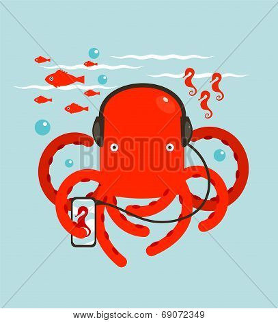 Red Octopus Listening to Smartphone Music