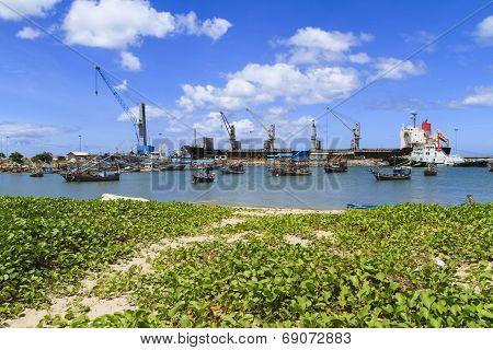 Fishing Boat Parking At Industry Cranes