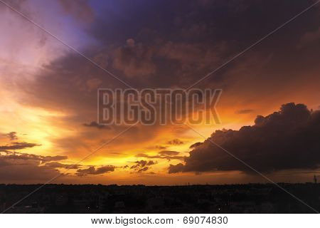 A charismatic effect on the cloudy sky during an evening sunset