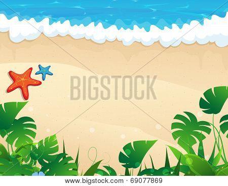 Tropical Beach With Tropical Vegetation