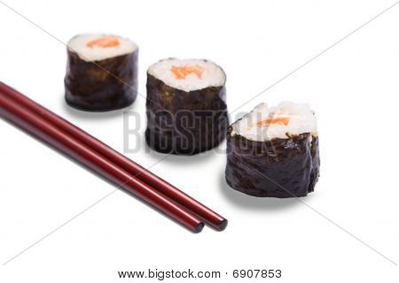 Hosomaki Sushi with sticks on a white background