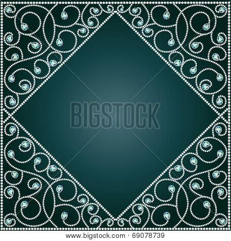 Background Frame With Ornaments Of Precious Stones