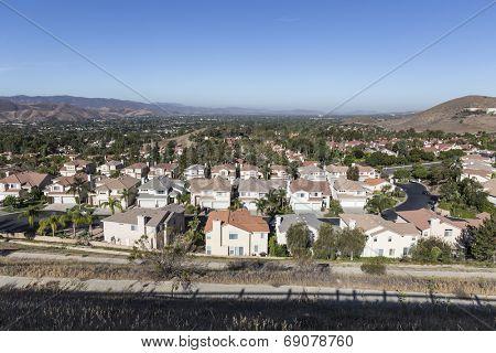 Comfortable suburban neighborhood in Ventura County's Simi Valley near Los Angeles, California.