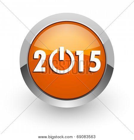 new year 2015 orange glossy web icon