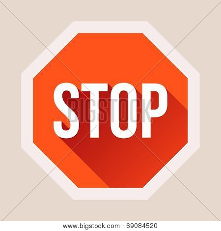 Stop sign with long shadow in flat style