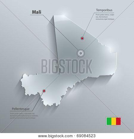 Mali map flag glass card paper 3D vektor