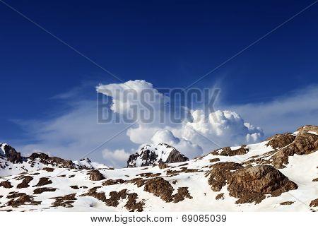 Snowy Rocks At Nice Day