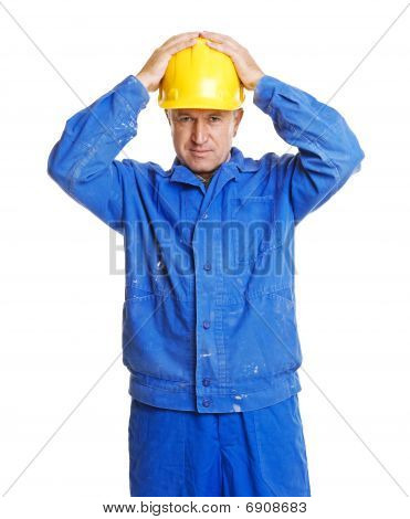 Worker With Hands On His Hardhat