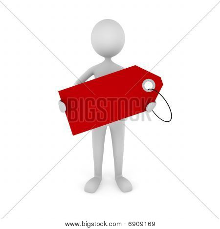 Man Holding Tag