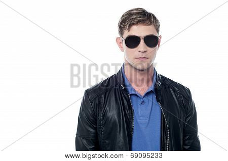Young Man Wearing Black Leather Jacket