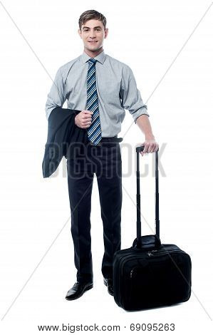 Young Businessman Posing With Trolley Bag