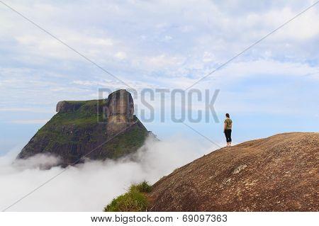 Woman On Edge Of Mountain Rio De Janeiro