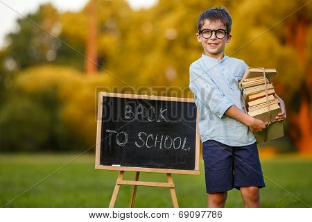 Cute little schoolboy carrying a stack of books