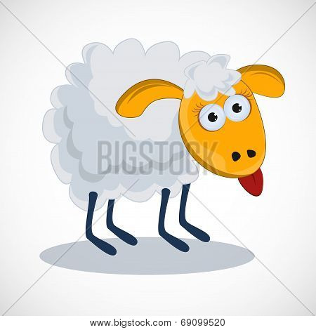Funny sheep with his tongue hanging out. vector