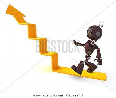 3D Render of an Android climbing a graph